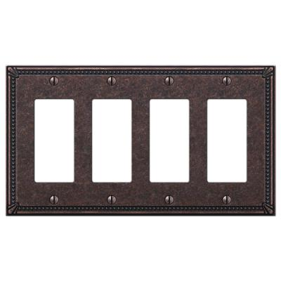 Imperial Bead 4 Gang Rocker Metal Wall Plate - Tumbled Aged Bronze