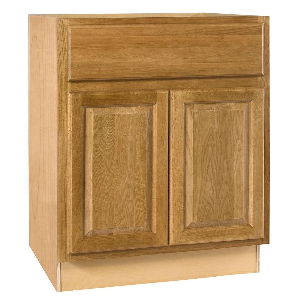 Home Decorators Collection Assembled 27x34.5x24 in. Base Cabinet with Double Doors and 2 Rollout Trays in Weston Light Oak