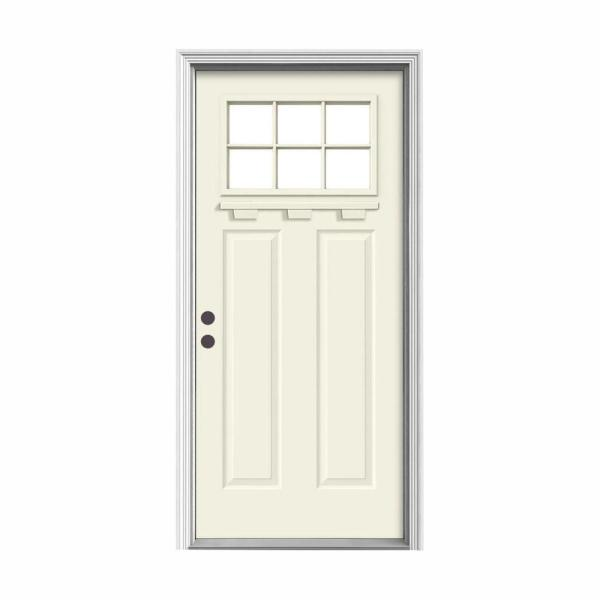 '' 36 in. x 80 in. 6 Lite Craftsman Vanilla Painted Steel Prehung Right-Hand Inswing FrontDoor w/Brickmould and Shelf''