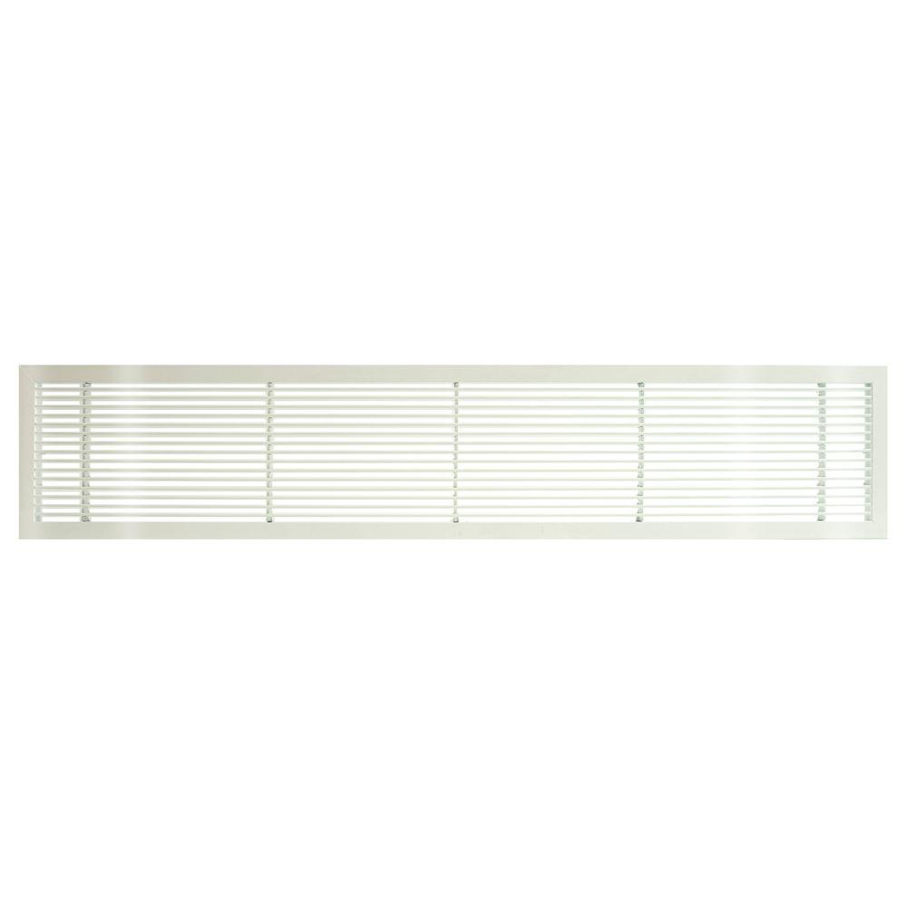 Architectural Grille AG10 Series 6 in. x 42 in. Solid Aluminum Fixed Bar Supply/Return Air Vent Grille, White-Gloss