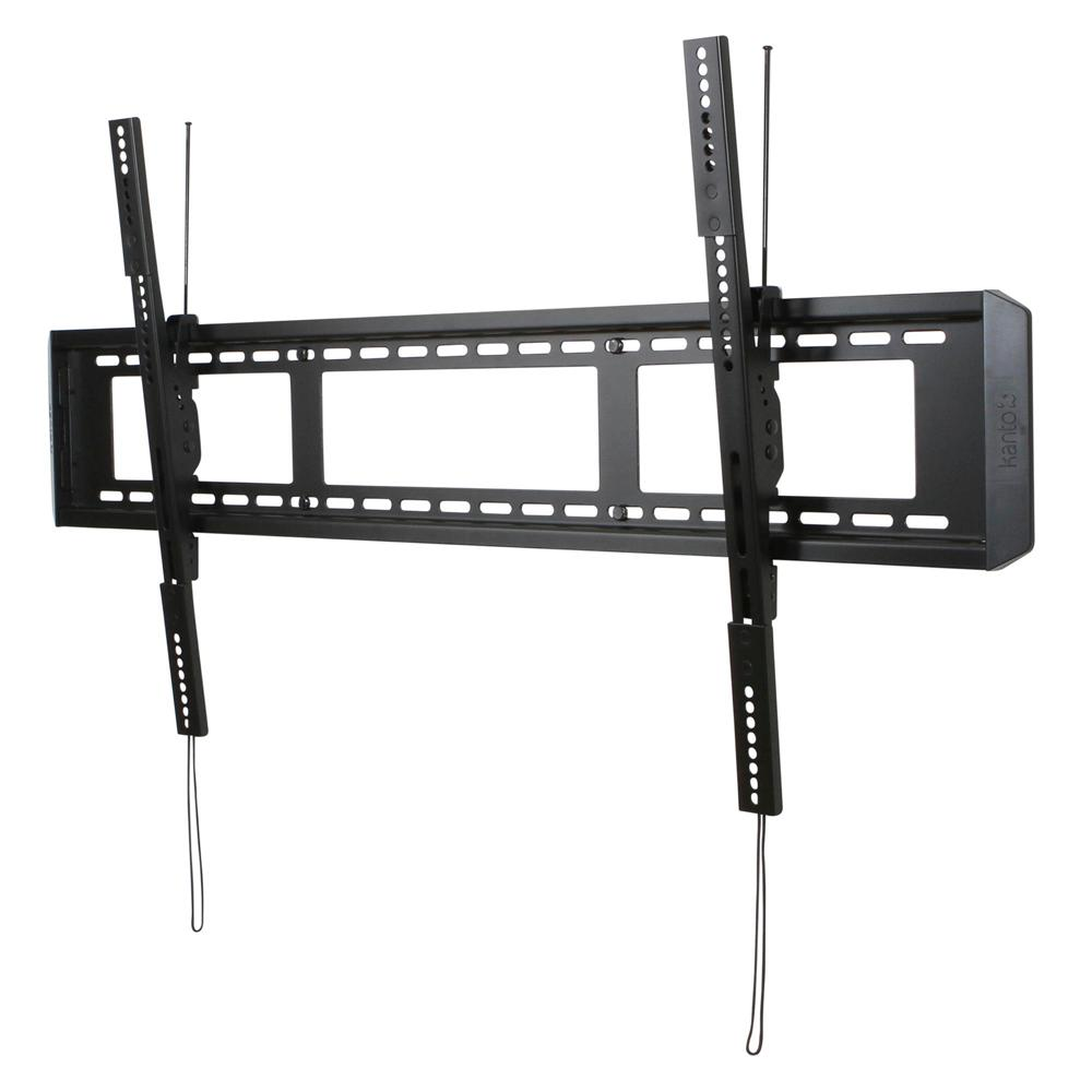 Kanto Tilting TV Mount, Black Now that you've invested in a giant screen, get it fastened to the wall securely and easily tilt it to the viewing angle you want. As long as your TV is under 200 lbs., you're in business. Accommodating a wide range of VESA patterns, your TV is almost certain to fit perfectly. To move your TV left or right, use the quick-release cords to detach and re-attach wherever you see fit. Your TV will sit a mere 2 from the wall. Get the mount that will make you proud. Color: Black.