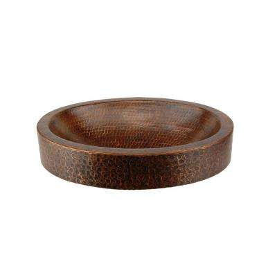 Compact Oval Skirted Hammered Copper Vessel Sink in Oil Rubbed Bronze