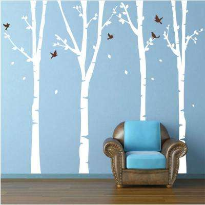 124 in. x 102 in. White Trees, Dark Brown Birds 4-Super Birch Trees Removable Wall Decal
