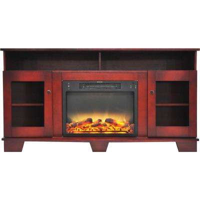 Savona 59 in. Electric Fireplace in Cherry with Entertainment Stand and Enhanced Log Display