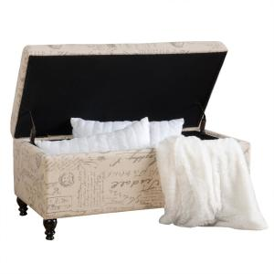 Parisian Beige French Script Linen Storage Bench