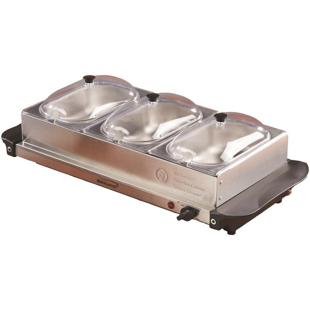 4.5 Qt. Silver Buffet Server with 3 Crocks