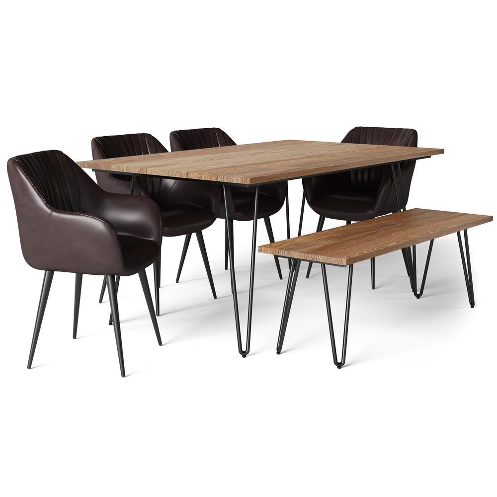 Swell Simpli Home 6 Piece Cognac Dining Set With Bench Briar 4 Machost Co Dining Chair Design Ideas Machostcouk
