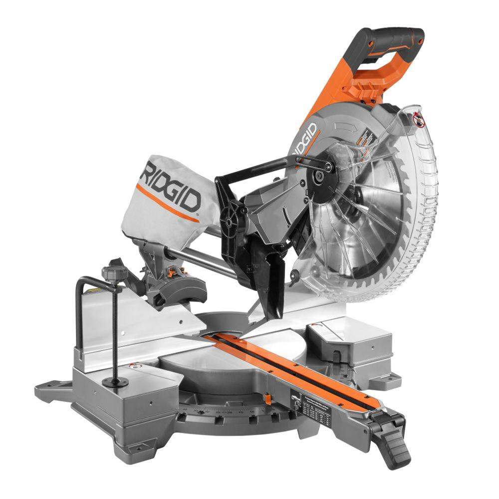 ridgid 15 amp corded 12 in dual bevel sliding miter saw with 70 m