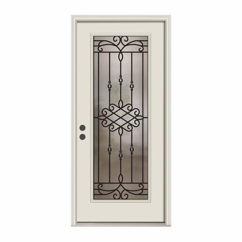 JELD-WEN 36 in. x 80 in. Full Lite Sanibel Primed Steel Prehung Right-Hand Inswing Front Door w/Brickmould