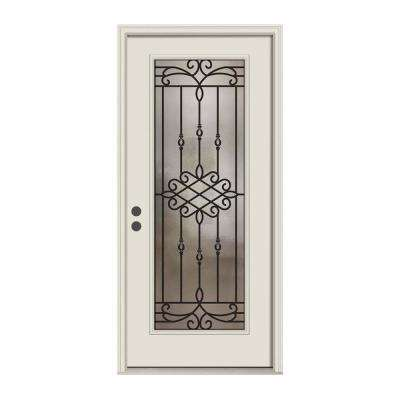 36 in. x 80 in. Full Lite Sanibel Primed Steel Prehung Right-Hand Inswing Front Door w/Brickmould
