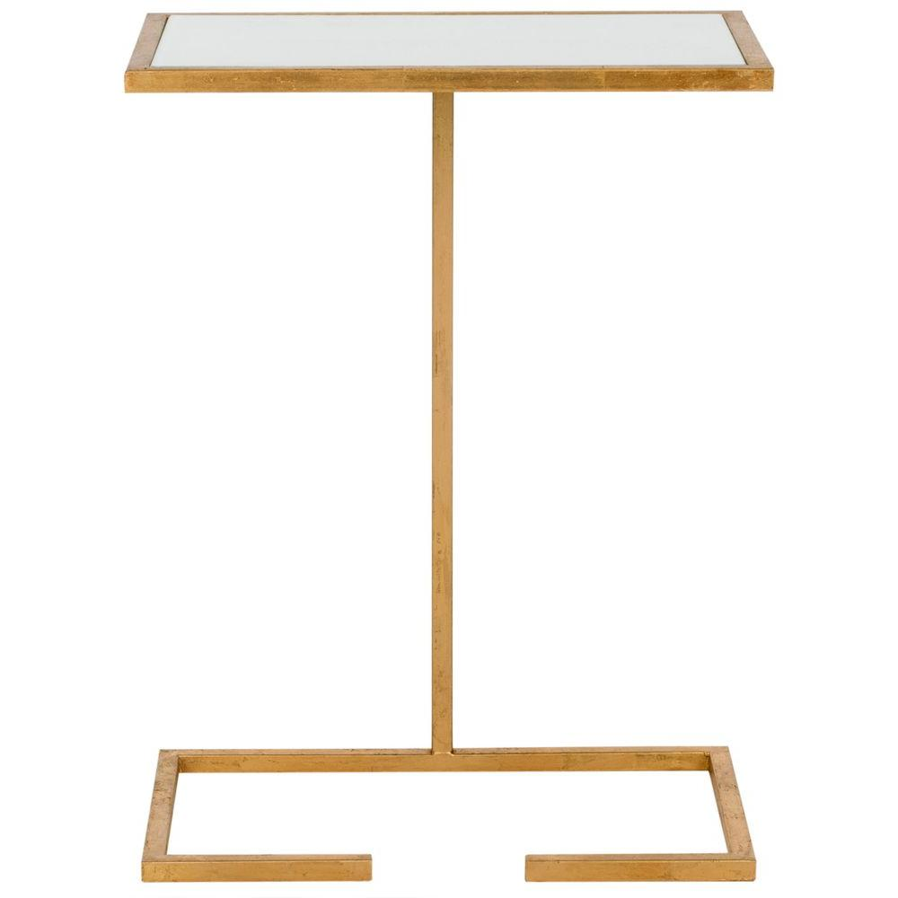 Neil Gold and White Glass Top End Table