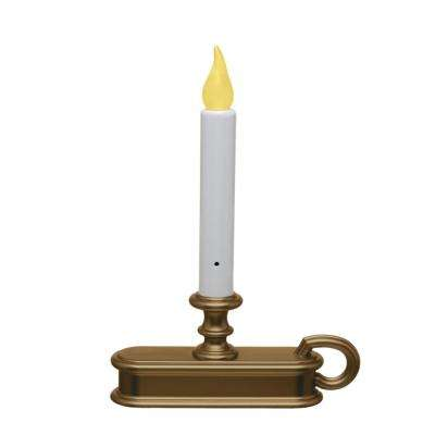 9 in. Antique Brass Amber LED Battery Operated Candle with Base