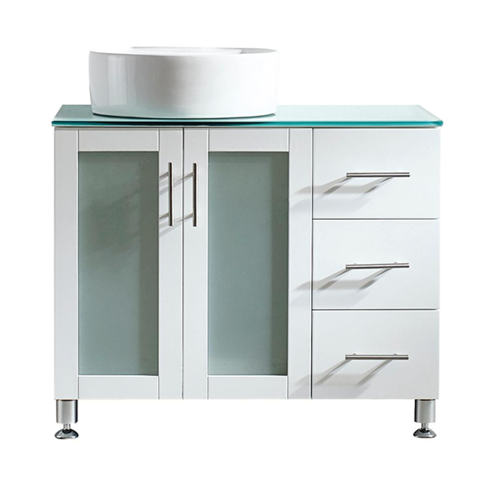 ROSWELL Tuscany 36 in. W x 22 in. D x 30 in. H Vanity in White with Glass Vanity Top in Aqua Green with White Basin