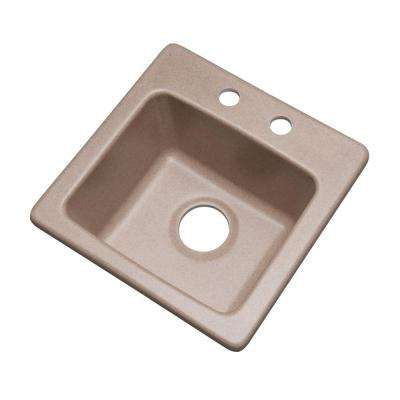 Westminster Dual Mount Granite Composite 16 in. 2-Hole Bar Single Bowl Kitchen Sink in Desert Sand