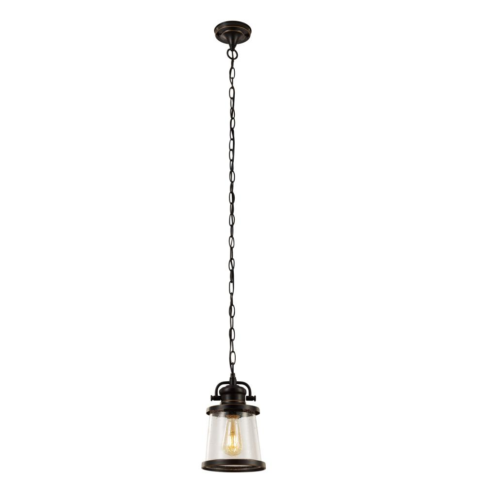 Globe Electric Charlie 1-Light Oil Rubbed Bronze Outdoor Hanging Pendant, Vintage Edison LED Bulb Included