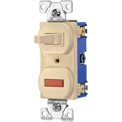 Heavy-Duty Grade 15 Amp Combination Single Pole Toggle Switch and Pilot Light, Ivory
