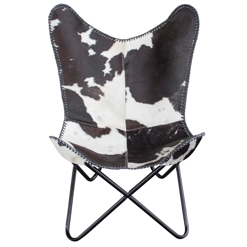 natural cow print hide leather butterfly chair ebay. Black Bedroom Furniture Sets. Home Design Ideas