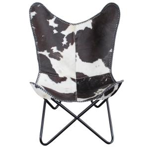 Internet #303223604. AmeriHome Natural Hide Leather Butterfly Chair