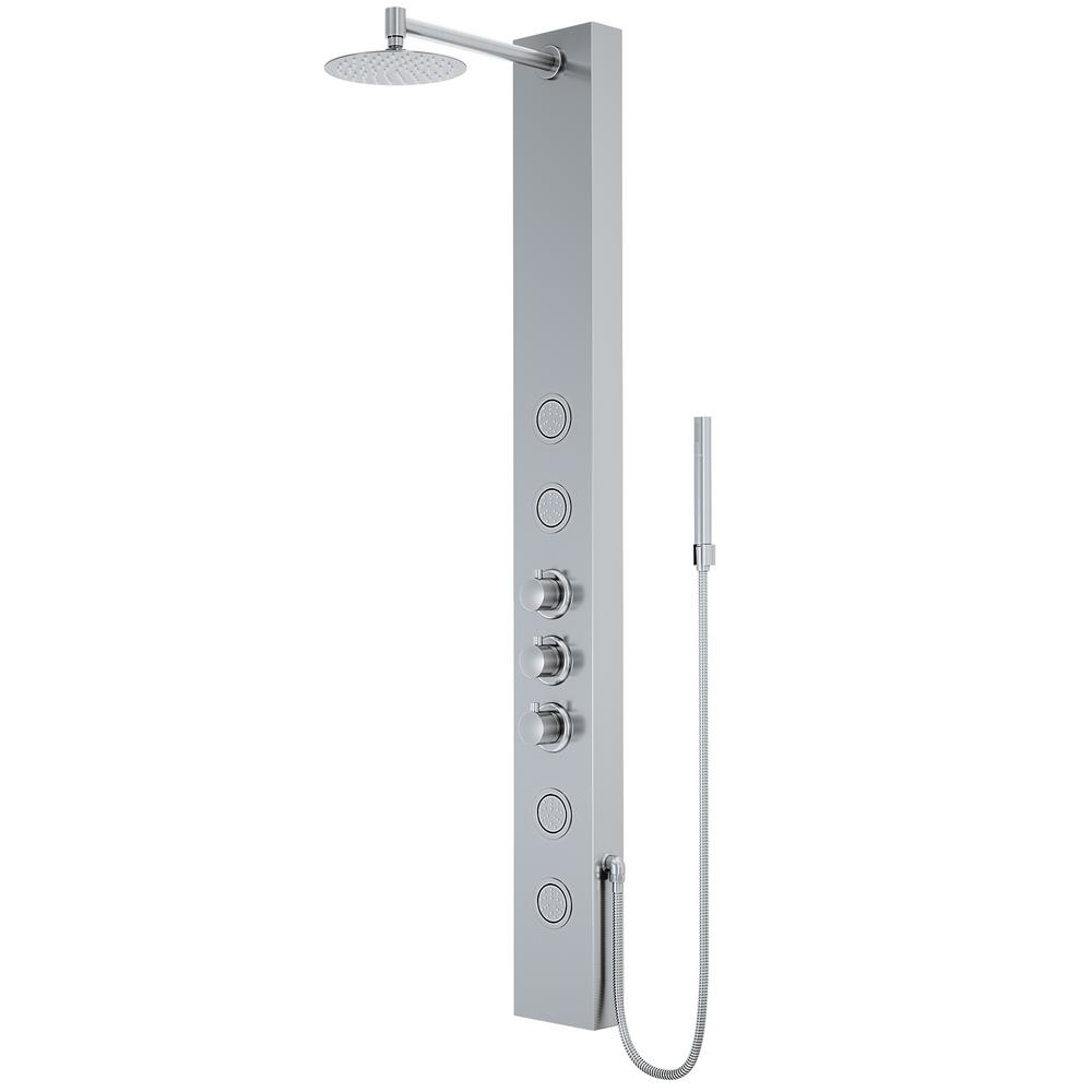 Elling-Ton 59 in. 4-Jet High Pressure Shower System with Fixed Rainhead and Handheld Dual Shower in Stainless Steel