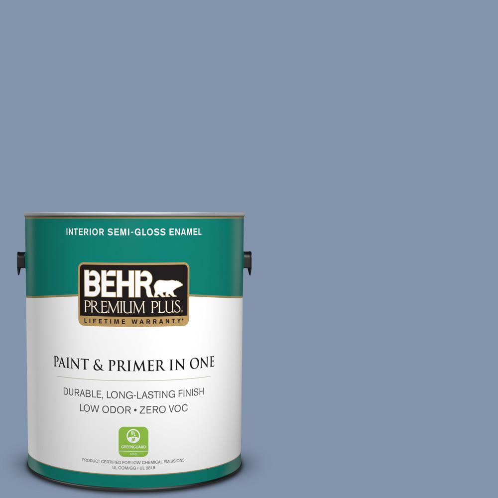 1 gal. #T16-13 Stratus Zero VOC Interior Semi-Gloss Enamel Paint