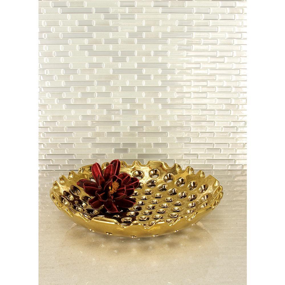 Gold Honeycombed Hole Ceramic Decorative Plates (Set of 2)