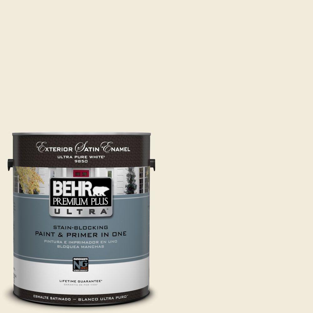 BEHR Premium Plus Ultra 1-Gal. #UL160-11 Coastal Beige Satin Enamel Exterior Paint