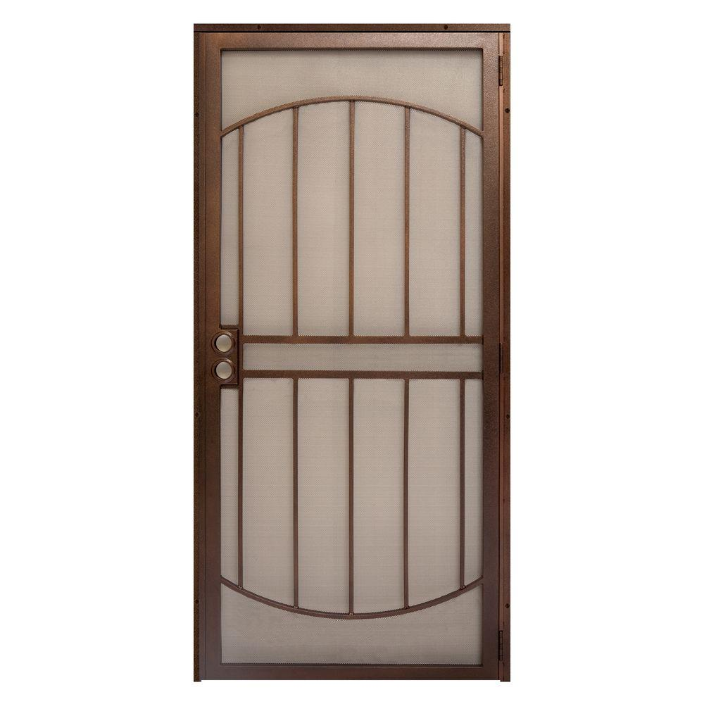 unique home designs 32 in x 80 in arcada copper surface mount outswing steel security door. Black Bedroom Furniture Sets. Home Design Ideas