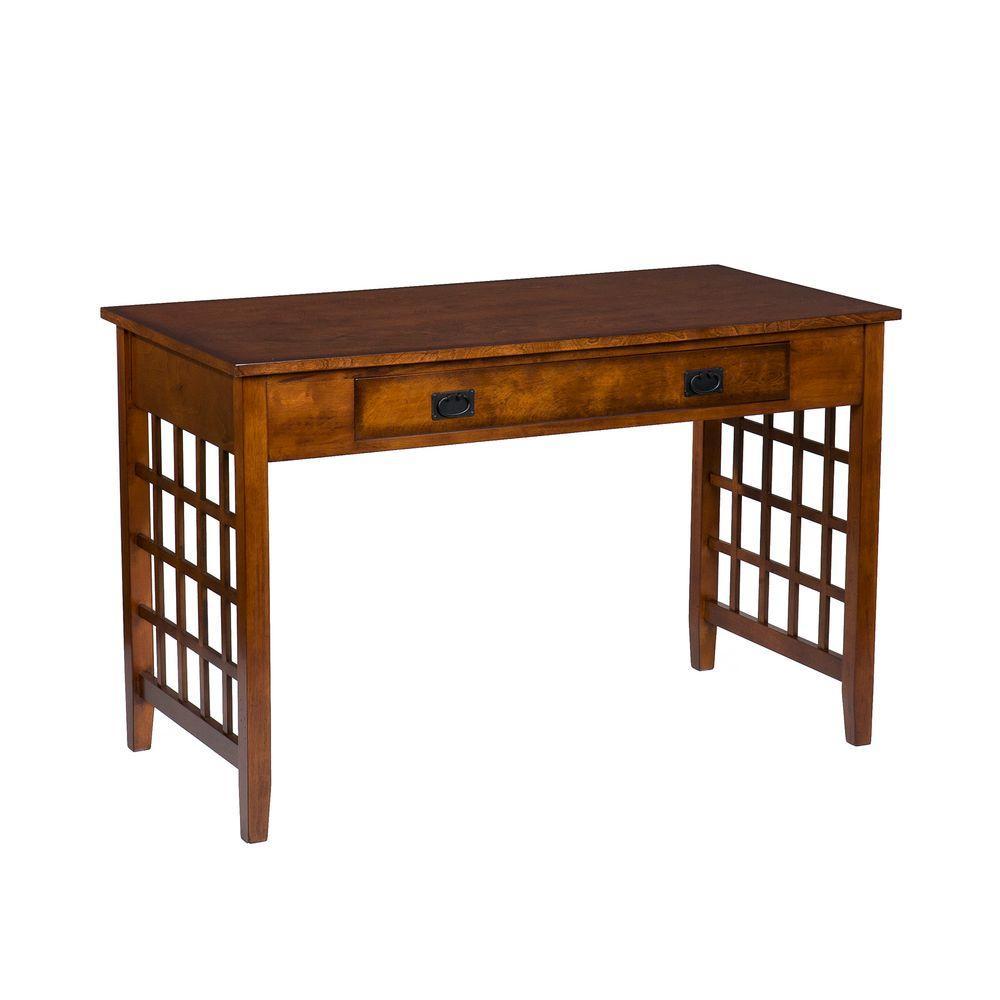 Home Decorators Collection Lattice-Style Mahogany Computer Desk-DISCONTINUED