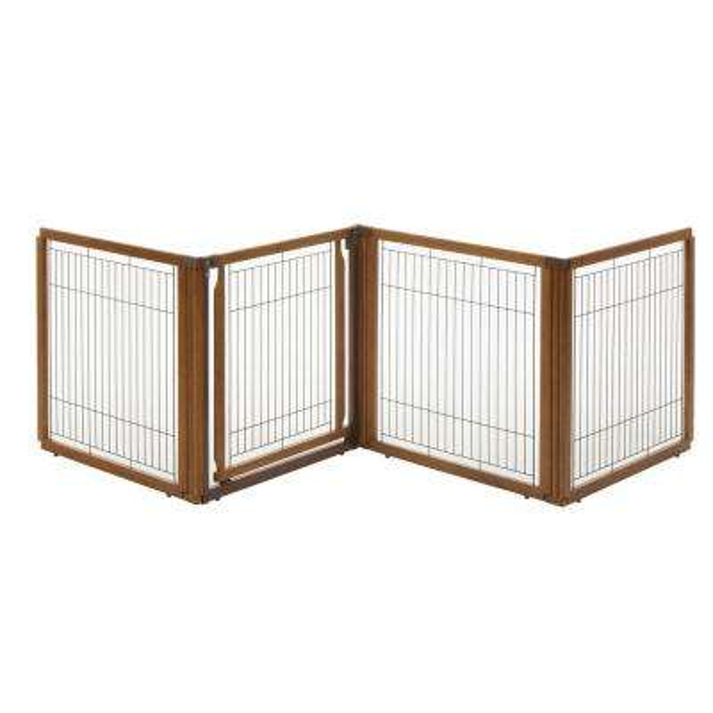 31.5 in. x 91.7 in. 4-Panel Wood Convertible Elite Pet Gate in Brown