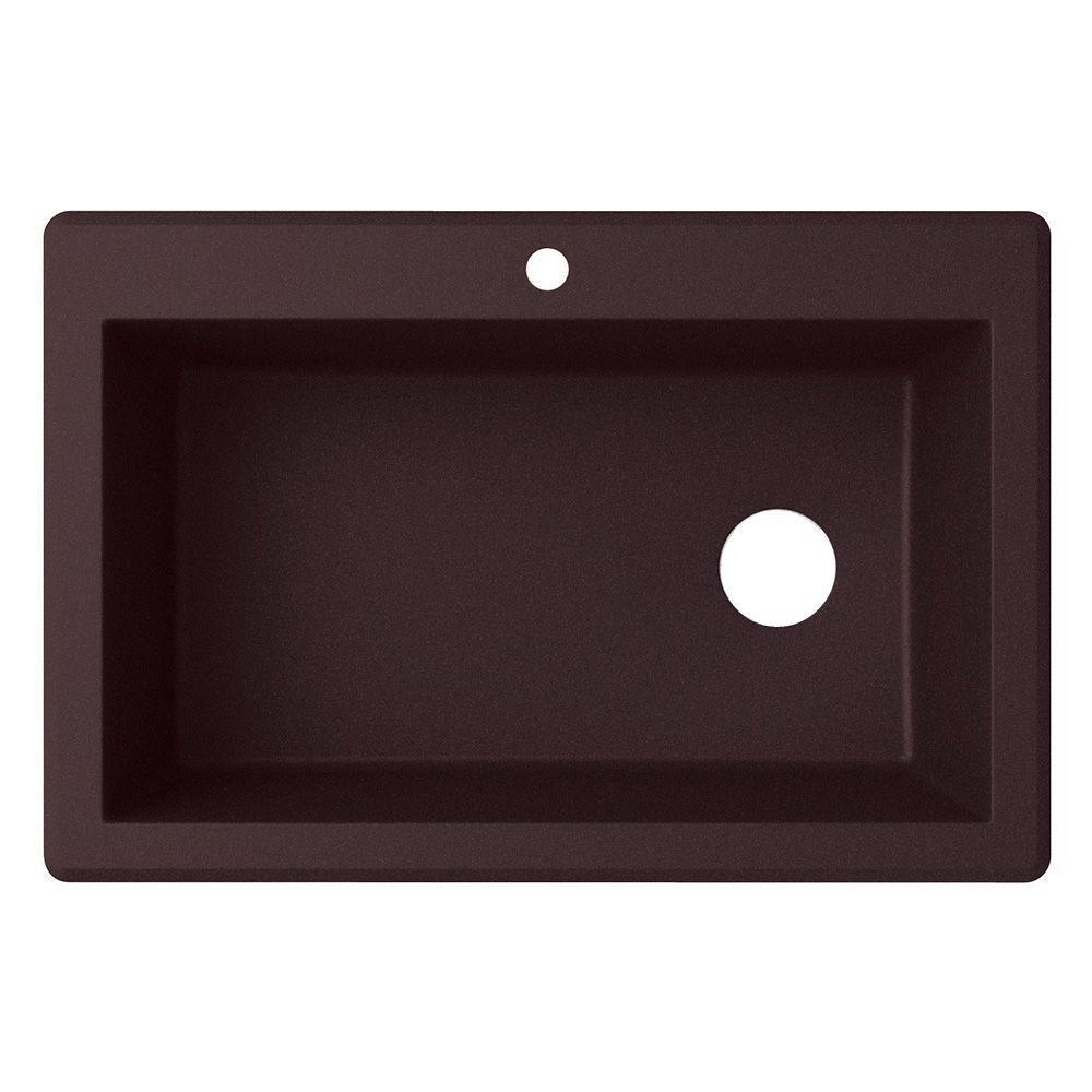 Drop-In/Undermount Granite 33 in. 1-Hole Single Bowl Kitchen Sink in Espresso