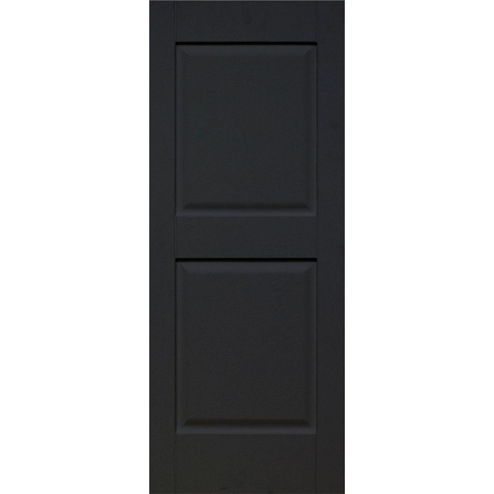 Home Fashion Technologies 14 in. x 53 in. Solid Wood Rasied Panel Exterior Shutters 4 Pair Behr Jet Black-DISCONTINUED