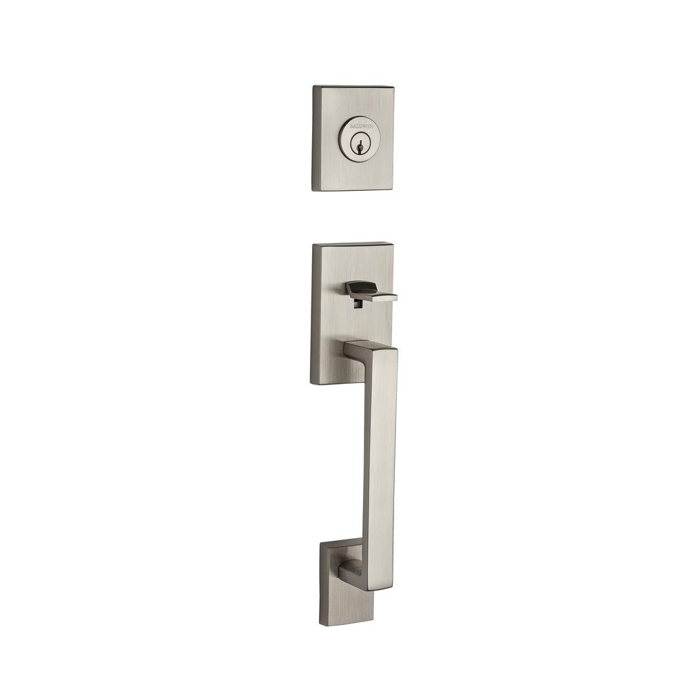 La Jolla Full Dummy Satin Nickel Handle Set with Square Lever