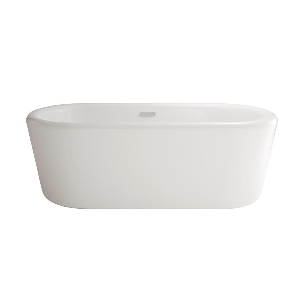 Kipling Ovale 5.8 ft. Acrylic Flatbottom Freestanding Bathtub in White