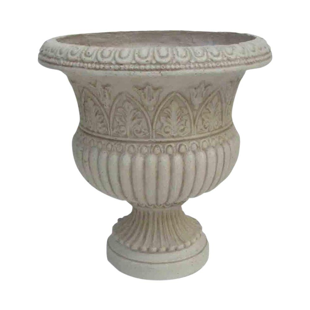Urns pots planters the home depot h white cast stone faux iron urn reviewsmspy