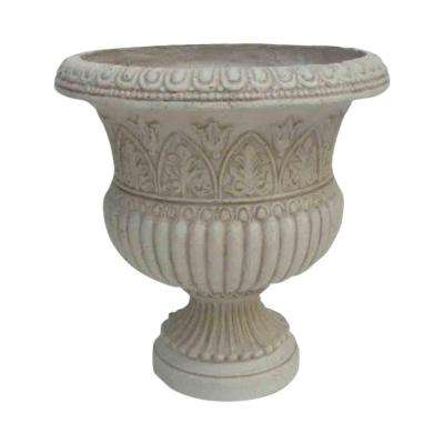 18 in. H White Cast Stone Faux Iron Urn