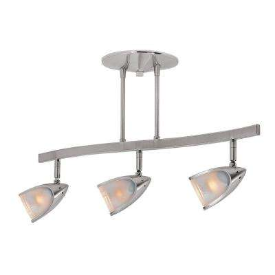 Comet 3-Light Brushed Steel Semi-Flush Mount Light with Opal Glass Shade