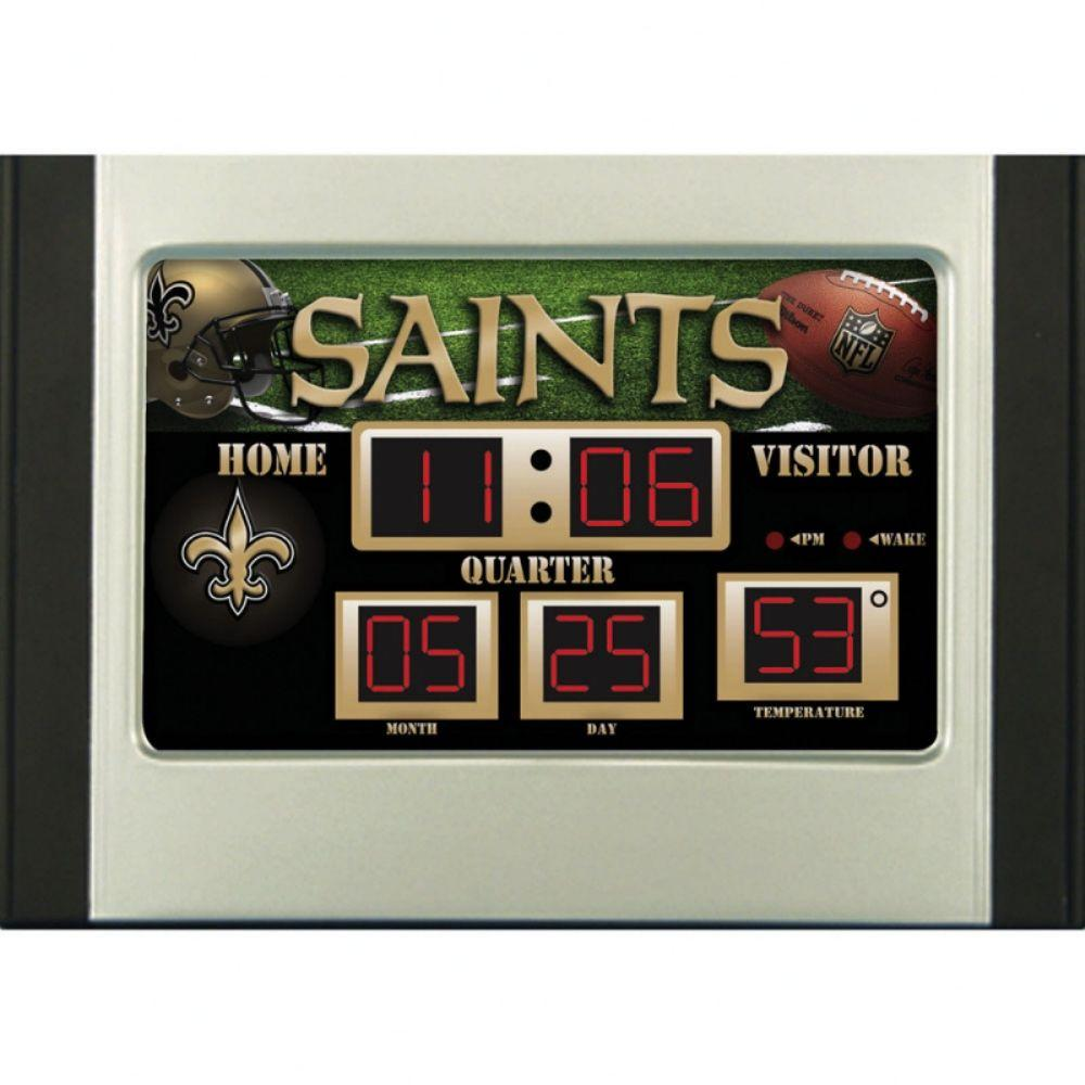 null New Orleans Saints 6.5 in. x 9 in. Scoreboard Alarm Clock with Temperature