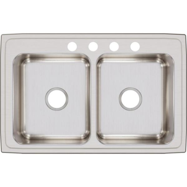 Lustertone Drop-In Stainless Steel 33 in. 4-Hole Double Bowl Kitchen Sink with 8 in. Bowls