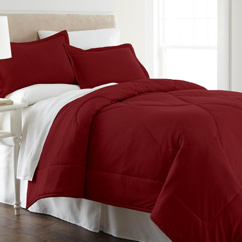 Micro Flannel King 4 Piece Wine Sheet Set