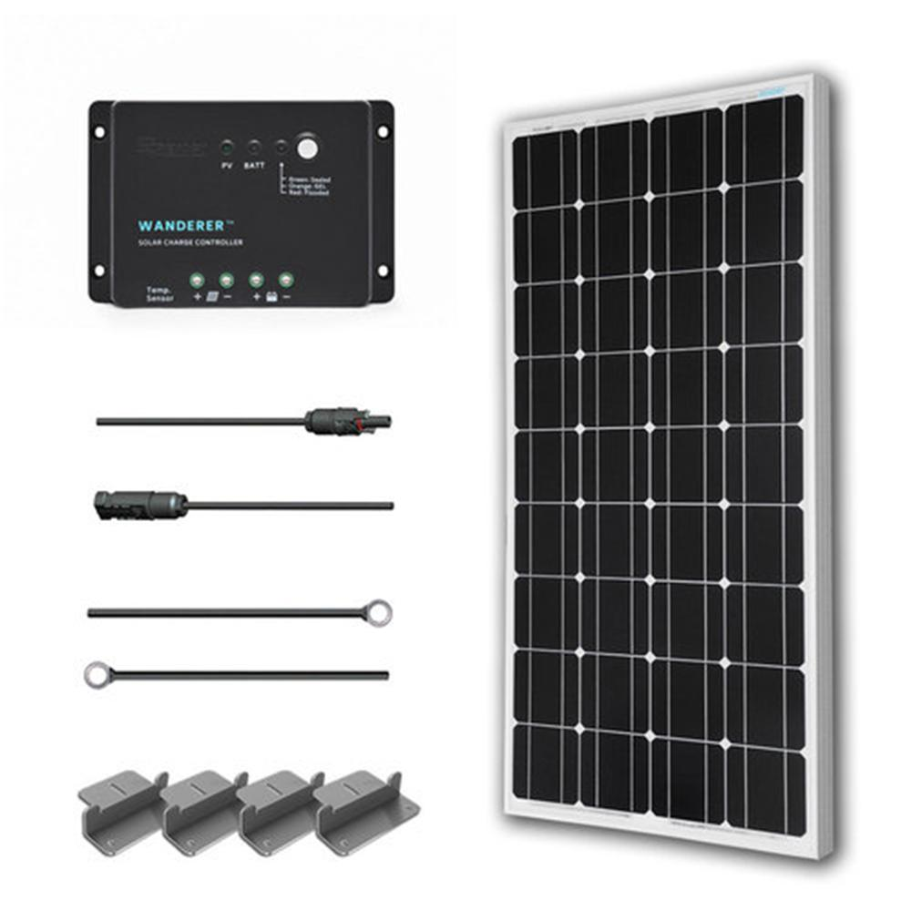 100-Watt 12-Volt Monocrystalline Solar Starter Kit for Off-Grid Solar System