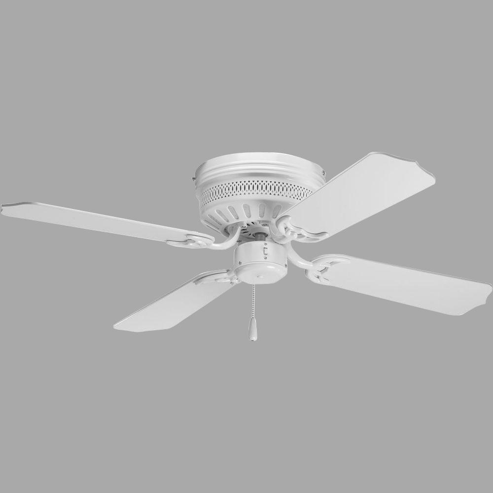 Hugger Ceiling Fans Without Light: Progress Lighting AirPro Hugger 42 In. Indoor White