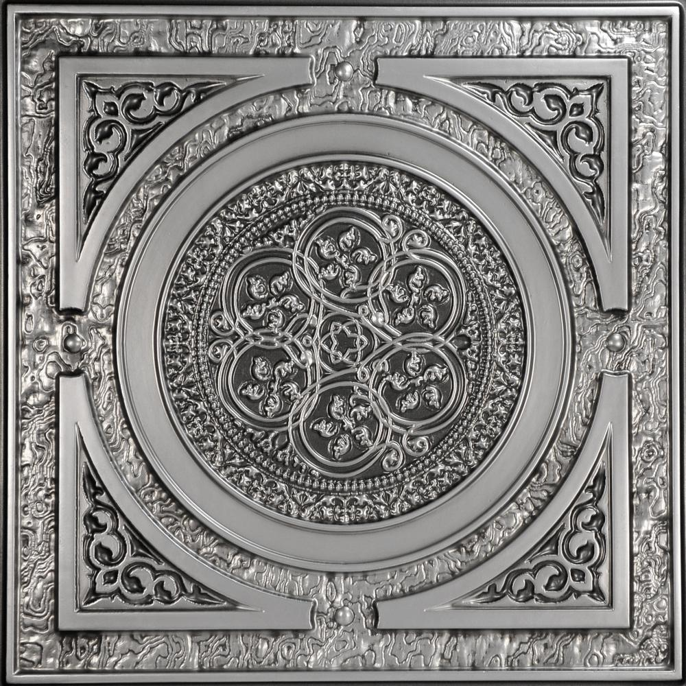 From Plain To Beautiful In Hours Steampunk 2 ft. x 2 ft. PVC Glue-up or Lay-in Ceiling Tile in Antique Silver
