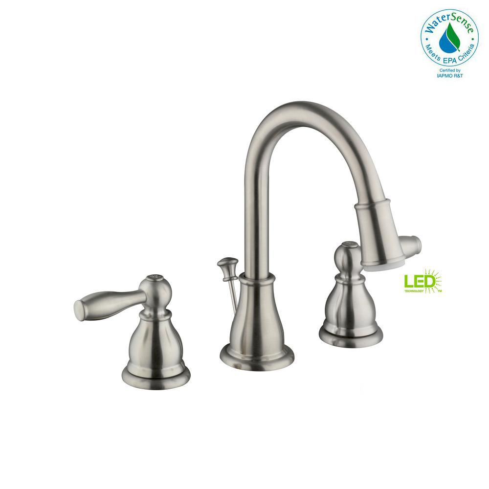 Widespread 2 Handle LED Bathroom Faucet In Brushed Nickel