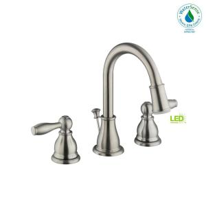 Glacier Bay Mandouri 8 inch Widespread 2-Handle LED Bathroom Faucet in Brushed Nickel by Glacier Bay