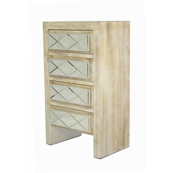 HomeRoots Shelly Assembled 19.6 in. x 19.6 in. x 13.8 in. White Washed Wood Accent Storage Cabinet with Glass and 4 Drawers