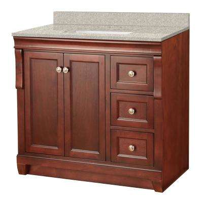 Naples 37 in. W x 22 in. D Vanity in Tobacco with Engineered Marble Vanity Top in Sedona with White Sink