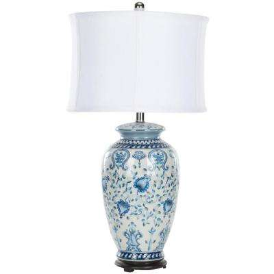 Paige 29 in. Blue and White Table Lamp