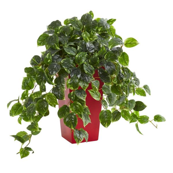Nearly Natural Indoor/Outdoor Pothos Artificial Plant in Red Planter