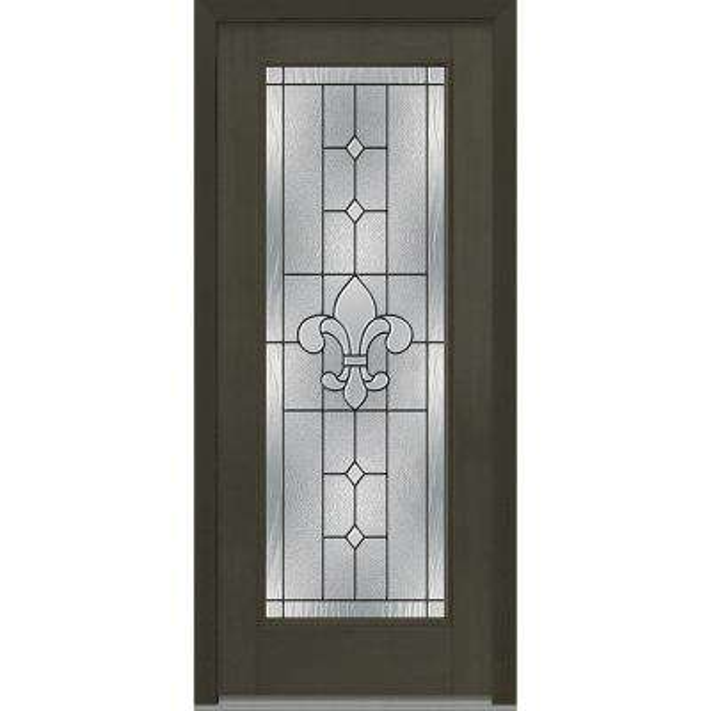 36 in. x 80 in. Carrollton Left-Hand Inswing Full Lite Decorative Stained Fiberglass Mahogany Prehung Front Door