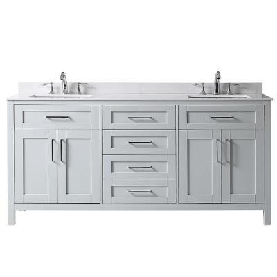 Riverdale 72 in. W x 21 in. D Vanity in Dove Grey with a Cultured Marble Vanity Top in White with White Sink